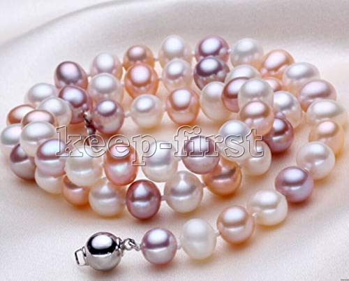 FidgetKute New Women's 7-8MM Mix Colour Freshwater Pearl Necklace 18'' Jewelry AAA (Mix Colour Pearl Necklace)