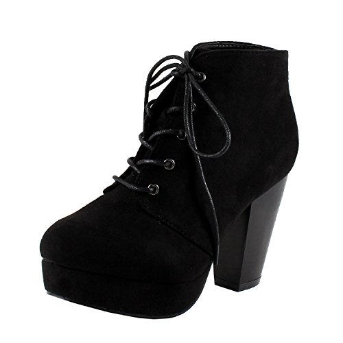 Forever Camille-86 Women's Comfort Stacked Chunky Heel Lace Up Ankle Booties,Black,7 ()