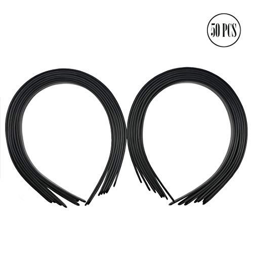 50PCS Amersumer 1/2 Girls Plain No Teeth DIY Plastic Headbands Headwear Hair Accessories (Black) (BLACK)
