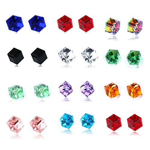 Spiritlele 12 Pairs Square Colors Crystal Stud Earrings Set CZ Magnetic Click on Non Piercing Earrings Pack