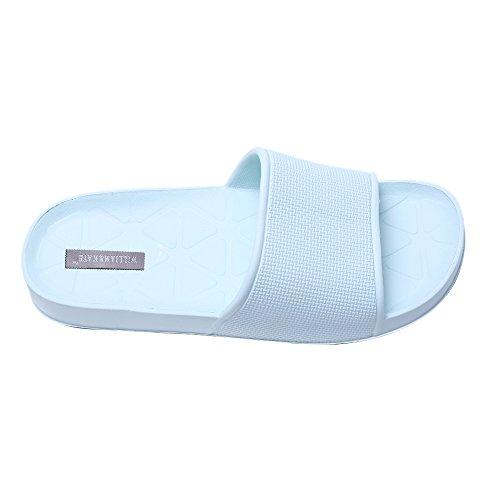 Zapatillas de Baño de Piso de Interior Unisex Zapatillas de Baño Antideslizante (41, azul claro)
