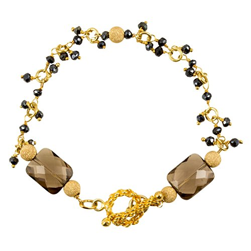 Smoky Quartz Toggle Bracelet - Just Give Me Jewels 24k Gold Plated Beaded Fringe Bracelet with Faceted Smoky Quartz - Toggle Clasp, 7