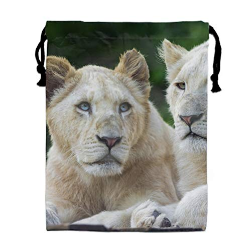White Lion Drawstring Cosmetics Cases Storages Holders Wash Bags Pouches 15.75 x 11.8