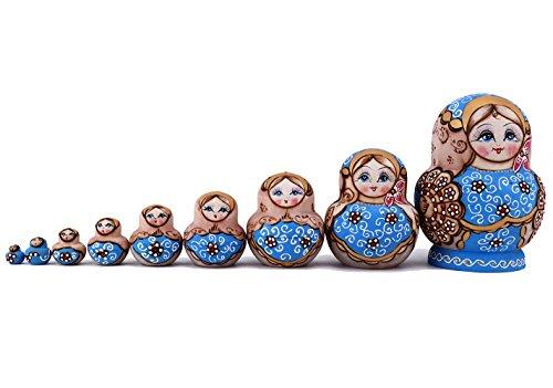 Looching 10pcs Beautiful Handmade Wooden Russian Nesting Doll Pink And Blue Traditional Pattern Matryoshka Doll Ideal Wishing Gift Dolls