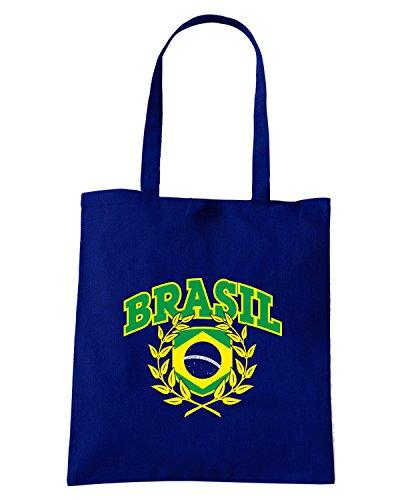 T-Shirtshock - Bolsa para la compra T0703 brazil calcio ultras Azul Marino