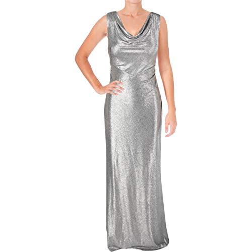 LAUREN RALPH LAUREN Womens Mailee Metallic Sleeveless Evening Dress Silver 12