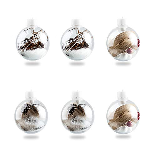 Jusdreen Christmas Balls Tree Decoration Hanging Balls Seasonal Ornaments LED Light - 6 Balls 80mm/3.15