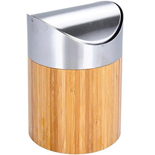 Tischabfalleimer Abfallbehälter Bambus mit Schwingdeckel