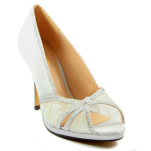 Glamour Women's Silver Diamante And Lace Peep Toe Court Shoe Silver x1qfpW