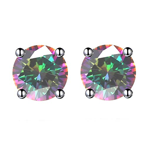 (6MM Round Rainbow Crystal Stud Earrings Made with 18K White Gold Plated Precious Stone for Girls (Rainbow))