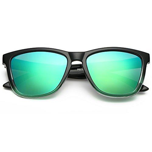 EliBella Women and Men Colorful Polarized UV400 protection Sunglasses EL0717 (Green, 52)