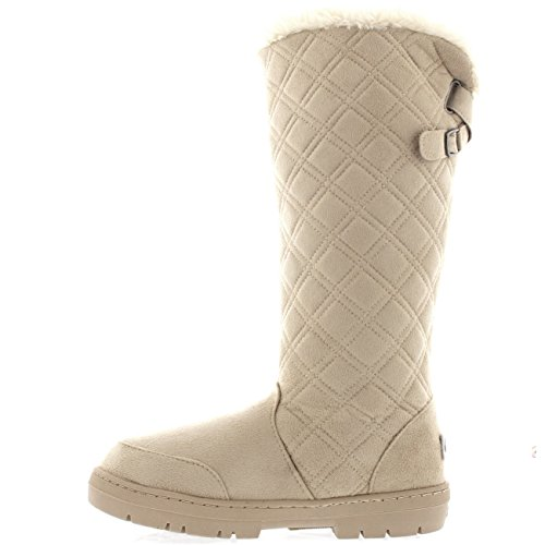 Holly Womens gesteppte Twin Strap zurück hohe Schnalle Winter Snow Rain Boots Beige
