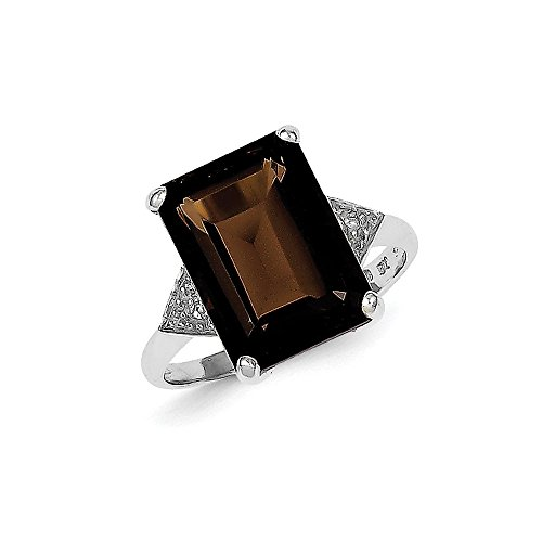 [925 Sterling Silver (0.01cttw) Rhodium Smoky Quartz and Diamond Ring Size-6] (Emerald Cut Smoky Quartz Ring)