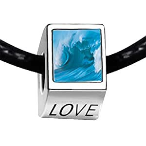Chicforest Silver Plated Cresting Blue Wave Photo LOVE Charm Beads Fits Pandora Charms