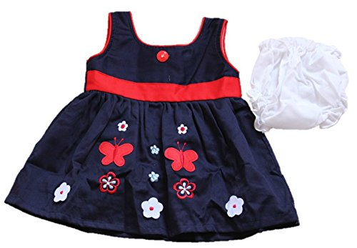 4085a1345ee4 Krivi Kids A-Line Cotton Blue-Color Frock for Girls  Amazon.in ...
