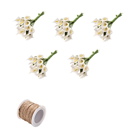 Lilies 5 Stems (5 Bunches Foam Calla Artificial Flower Foam Calla Lily for DIY Wreath Gift Box Package Craft Wedding Corsage Buttonholes Cake with 1 Pcs Burlap Rope by Crqes)