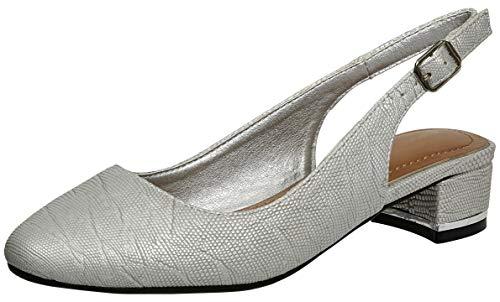 (Cambridge Select Women's Closed Toe Chunky Block Low Heel Slingback Pump,10 M US,Silver)