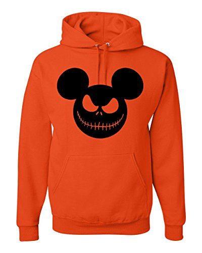 Mickey Grinning Jack O Lantern | Unisex Halloween Hooded Sweatshirt Graphic Hoodie, Orange, Small