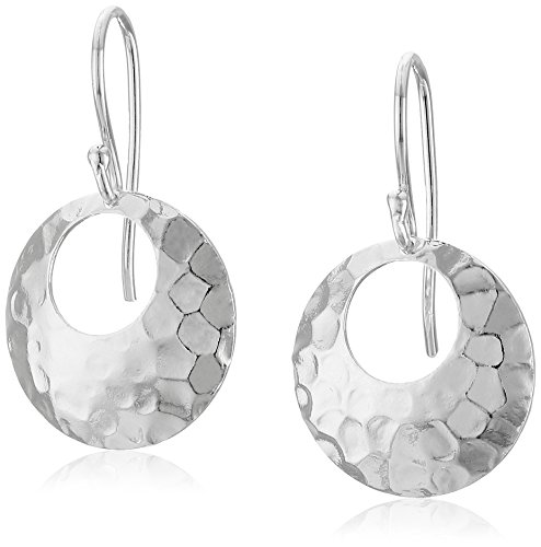 Hammered Sterling Silver Dangle (Sterling Silver Round Hammered 17mm Drop Earrings)