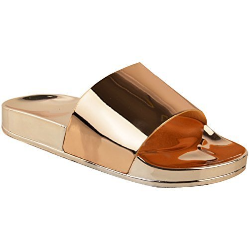 a5efd611dd96a Fashion Thirsty Sandales à Enfiler - pour Femme - Brillantes Plates Diamant  - -