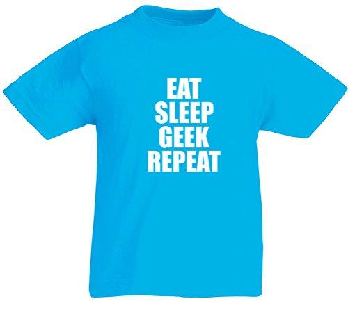 Price comparison product image Eat Sleep Geek Repeat, Kids Printed T-Shirt - Azure/White 12-13 Years