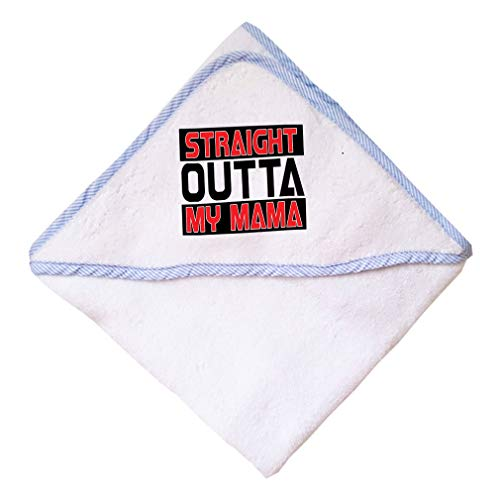 Straight Outta My Momma Boys-Girls Cotton Baby Hooded Towel - Blue, One Size