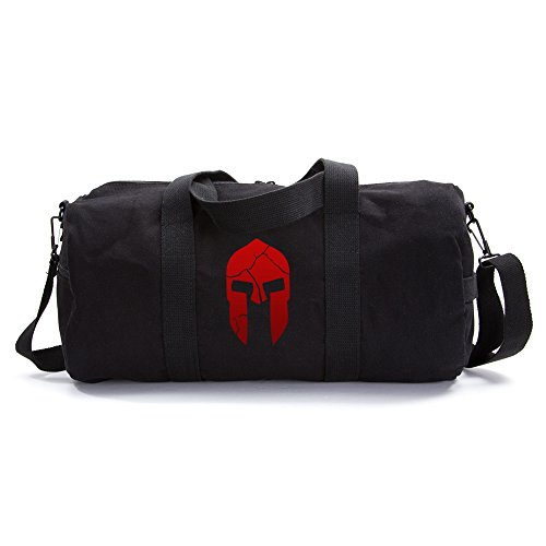 Army Heavyweight Canvas Duffel Bag Cracked Warrior Helmet, Large Black & Red