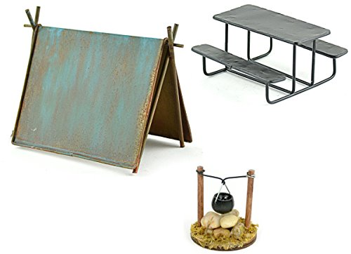 (Miniature Garden Camping Set - DIY Kit for Fairy Garden includes Tent, Picnic Table & Cooking Pot over Fire)