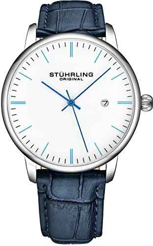 Stuhrling Original Mens Watch Calfskin Leather Strap - Dress + Casual Design - Analog Watch Dial with Date, 3997Z Watches for Men Collection (White Blue)