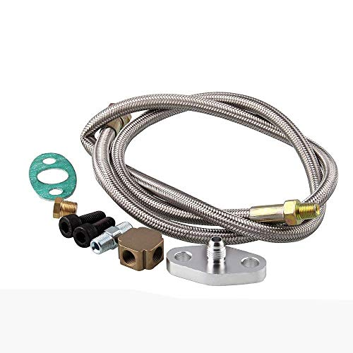 Aoile Turbo Oil Inlet Feed Line Fitting for Turbo Turbocharger Assembly Kit T3 Adapter