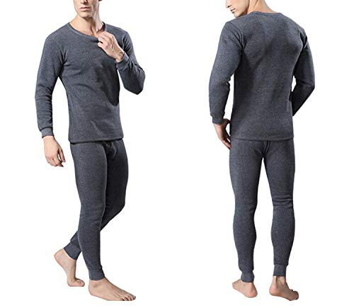 Winter Warm Tops & Pants 2 Piece Male Clothing Set Arrivelpullover Men Thermal Underwear Set,Dark Grey,XXL (Pants Womens Polypro)