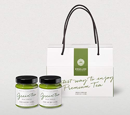 Osulloc Green Tea Milk Spread 200g 2 Pack 1 Box Gift Set (Origin Jeju lsland in Korea) Sweet Jam Matcha Milky Spread Bread Cream ()