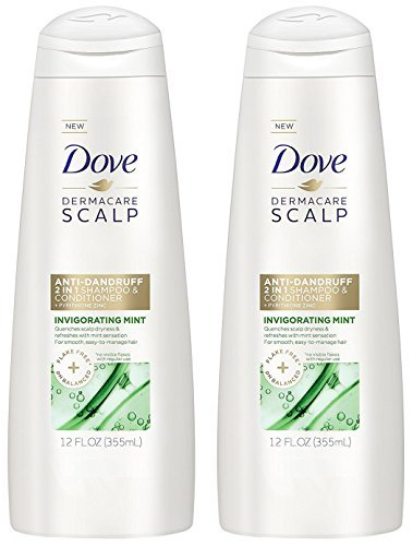 Dove Dermacare Scalp - Anti-Dandruff 2 in 1 Shampoo + Conditioner - Invigorating Mint - Net Wt. 12 FL OZ (355 mL) Per Bottle - Pack of 2 Bottles