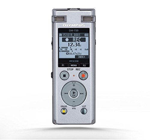 Olympus DM-720 Memoria interna y tarjeta de memoria Plata - Dictáfono (985 h, MP3,PCM,WAV, 8-320 Kbit/s, LCD, 3,45 cm (1.36