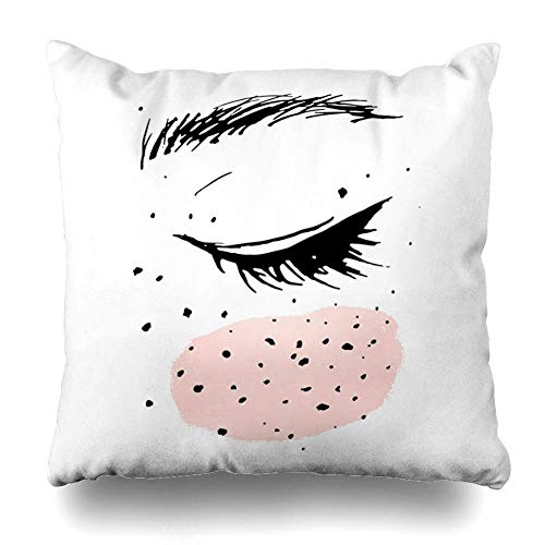 - GG-go Throw Pillow Case Brush Pink Abstract Closed Eye Cheek Freckles Child Artistic Black Design Pretty Zippered Pillowcase Square Size 18 x 18 Inches Home Decor Cushion Covers