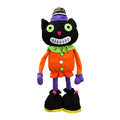 (super1798 Halloween Cartoon Doll Pumpkin Witch Cat Party Home Showcase Bar Holiday Decor Black)