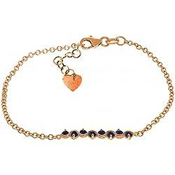 1.55 CTW 14K Solid Rose Gold Bracelet Natural Sapphire
