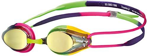 Arena Tracks Mirror Jr Youth Swim Goggles, Violet, Fuchsia, Green
