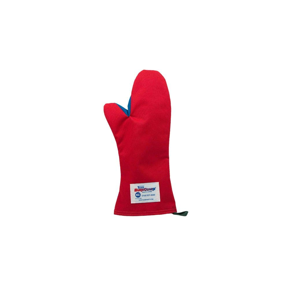 "Tucker Safety 56159 Products Tucker BurnGuard Protective Apparel, Conventional Style Oven Mitt, Poly-Cotton, Removable Liner, Each, Medium, 15"", Red"