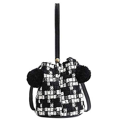 Onfahion Bolso de Mano para Mujer Invierno Bolso con Pompom Bolso Crossbody Bolso de Hombro Bolsas de Muñeca Negro
