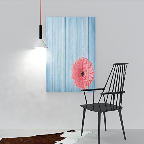 Philip C. Williams Modern Decoration for Living Room Bedroom Home rtain Turquoise Vintage Barn Wood with Hot Pink Daisy Flower Retro Pop Artsy Art Wall Decor Frameless W24 x H32 ()