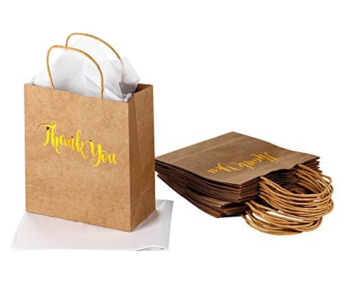 Thank You Gift Bag - 15-Pack Gold Foil Brown Kraft Paper Bag Party Favors Includes Tissue Paper for Birthday, Baby Shower, Wedding Party Guests, 8 x 4 x 9 inches (Bridal Shower Goodie Bags)
