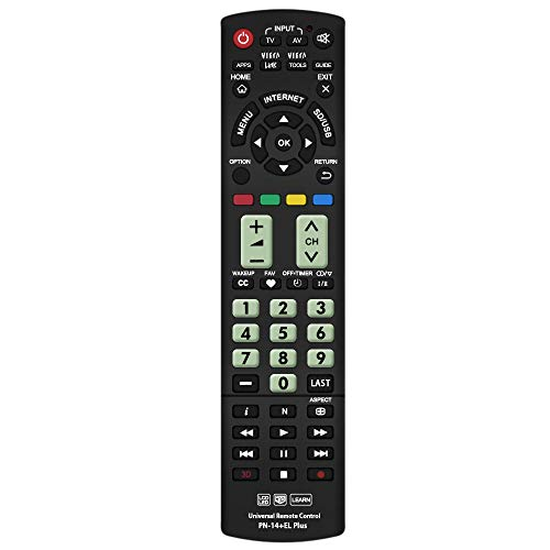 Gvirtue Universal Remote Control Compatible Replacement for Panasonic TV/Viera Link/ 3D/ LCD/LED, N2QAYB000485 N2QAYB000100 N2QAYB000221 N2QAYB00048 ()