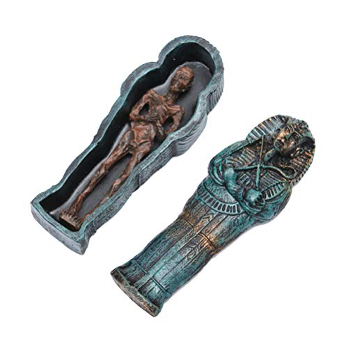 BESTOYARD Halloween Decor Egyptian Mummy Cases Coffins Sarcophagus with Skeleton for Creepiest Haunted House Décor Halloween Prop Decorations ()