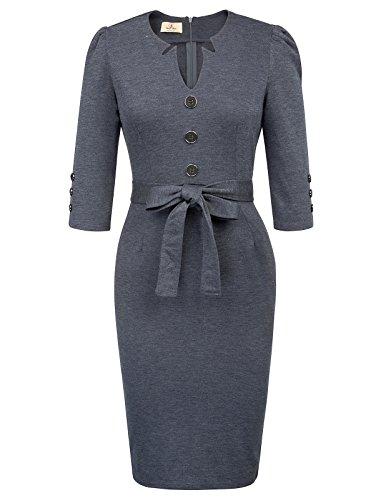(GRACE KARIN Women's Classy Notched Neck Elegant Business Dress L Dark Blue)