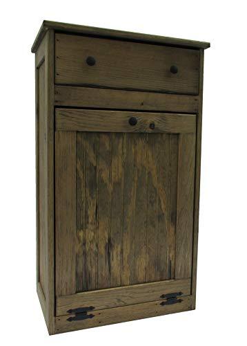 - Wooden Tilt-Out Trash Bin with Drawer
