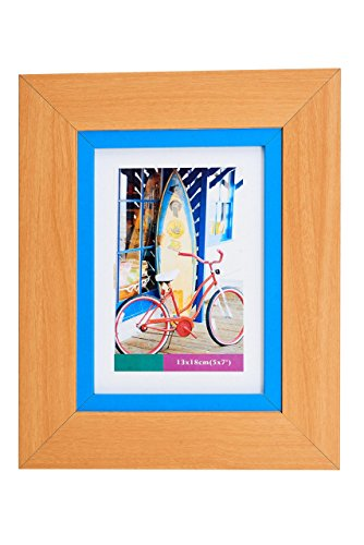 Lambert Frame Color Block Wood Picture Frame Blue Pastel Blend Photo Display with Glass Front, Easel Back, Hanging Clip, Brown