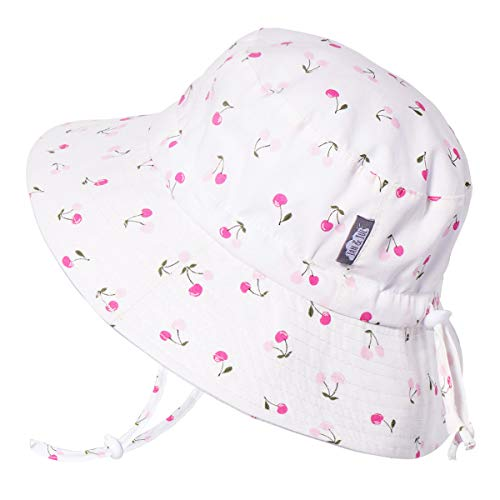 JAN & JUL Newborn Infant Baby Girl Cotton Bucket Sun Hat 50 UPF Protection, Adjustable Good Fit, Stay-on Tie (S: 0-6m, Cherries)