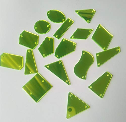 (Mink Monk 50pcs Fluorescence Green Sewing On Acrylic Mirror Rhinestones, DIY Flat-back Mirrored Beads for Costume Evening)