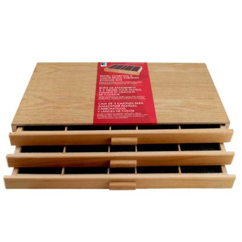 3 Drawer Wood Pastel Storage Box 15-3/4 x 9-1/2 x 3-1/2 inches